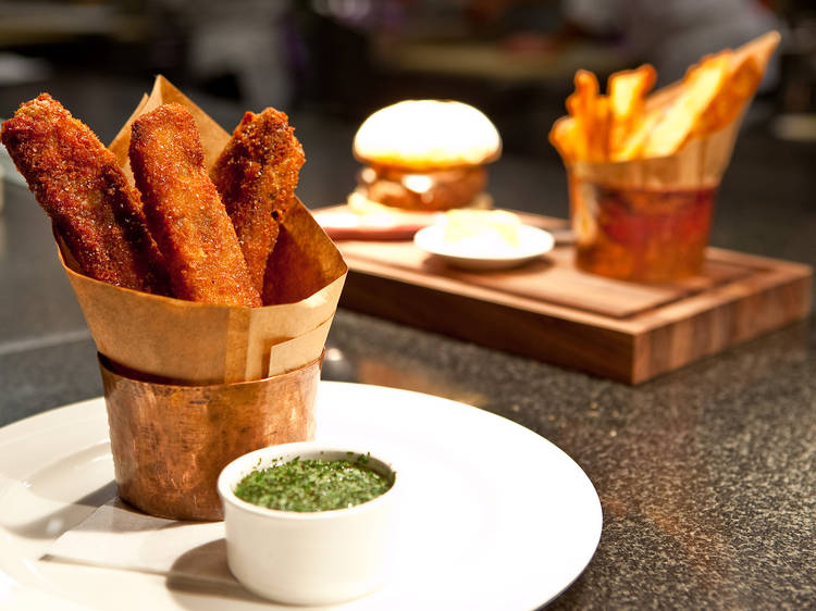 Thrice cooked chips at the Breslin Bar & Dining Room in New York, NY