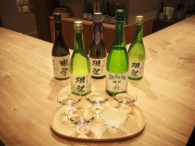 Toast with sparkling sake...