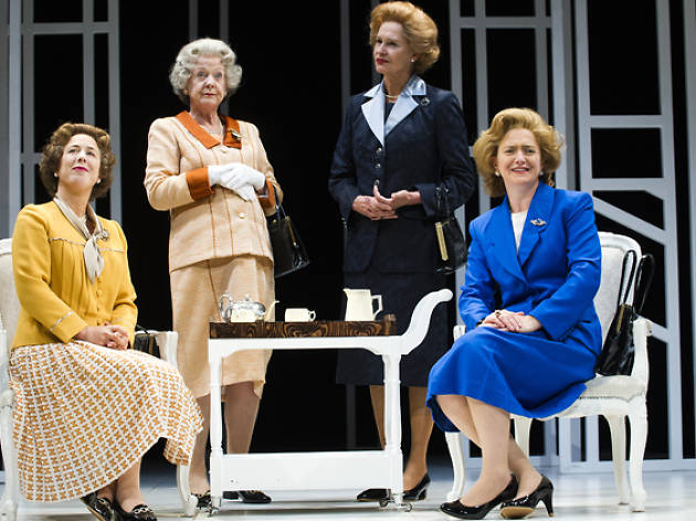A scene from Handbagged by Moira Buffini @ Marlowe Theatre, Canterbury. Directed by Indhu Rubasingham(Opening  09-09-15)©Tristram Kenton 09/15(3 Raveley Street, LONDON NW5 2HX TEL 0207 267 5550  Mob 07973 617 355)email: tristram@tristramkenton.com