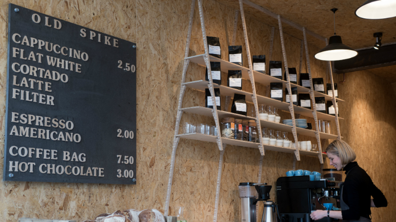 Old Spike Roastery, coffee shop inside, Peckham 2015