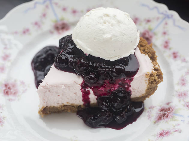 Key lime hibiscus pie at Spinning J Bakery & Soda Fountain