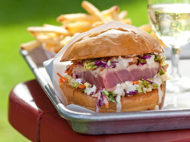 Ahi tuna burger at Gott's Roadside; St. Helena, CA
