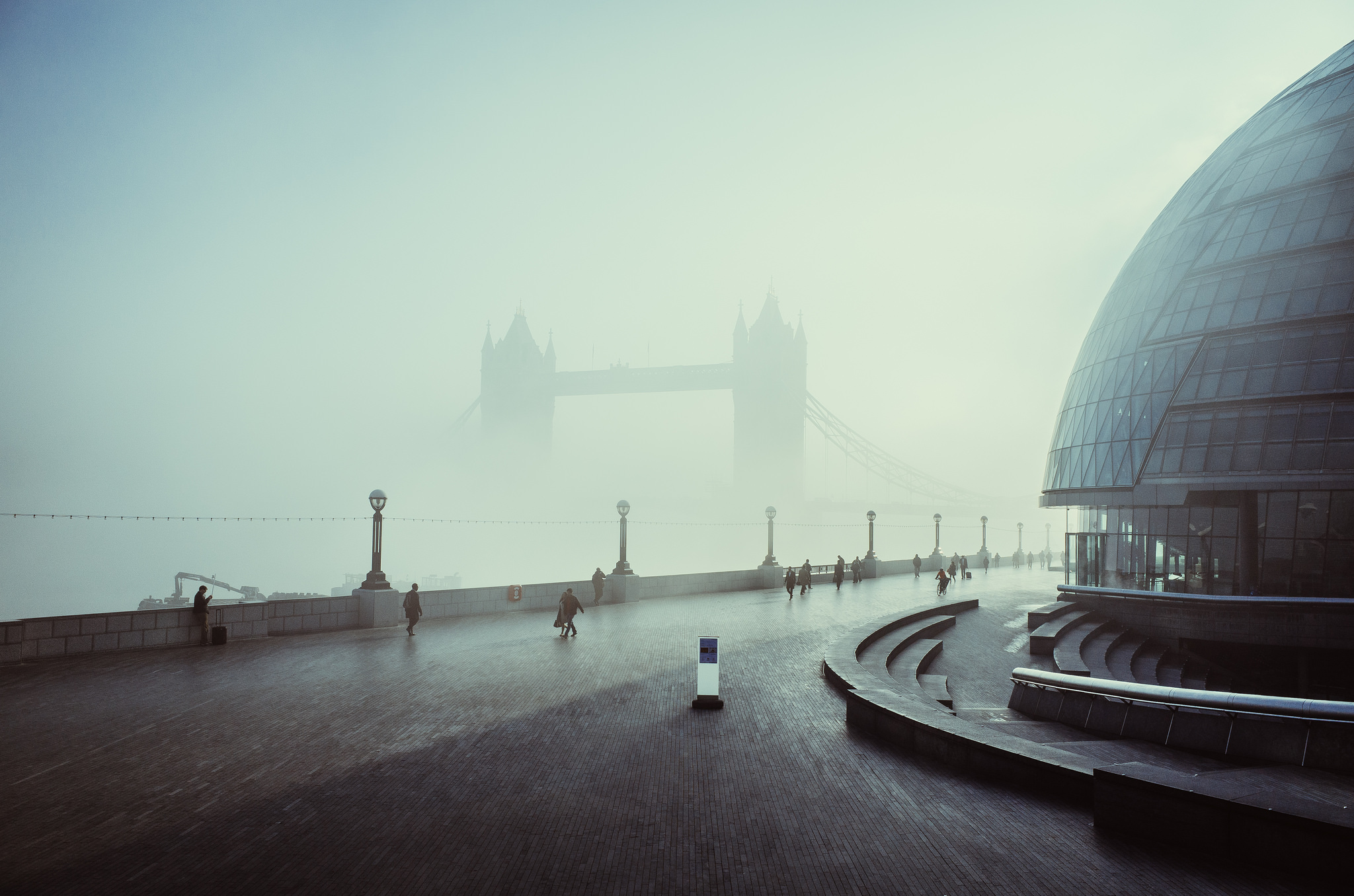 A foggy day in London at Tower Bridge.