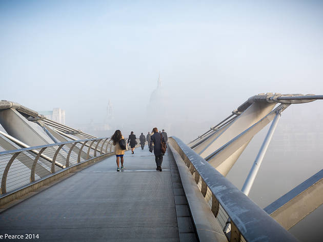 Fog around Millennium Bridge, obscuring the view of St. Paul's Cathedral