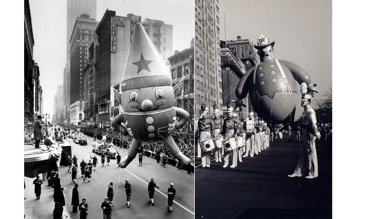 Left: Macy's Elf balloon; 1947 Right: Harold the Fireman, 1948