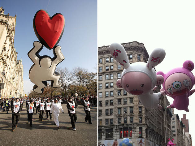 Left: Figure with Heart by Keith Haring, 2008; Right: Right: Kaikai and Kiki by Takashi Murakami, 2010