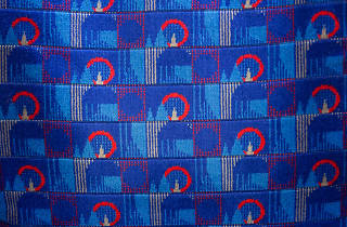 Can you name the four London landmarks in the tube seat pattern?