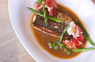 mk serves seasonal American dishes, like lobster with whitefish.