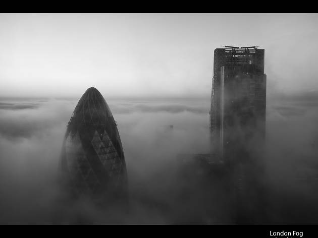 The Gherkin and The Cheesegrater on a misty London morning.