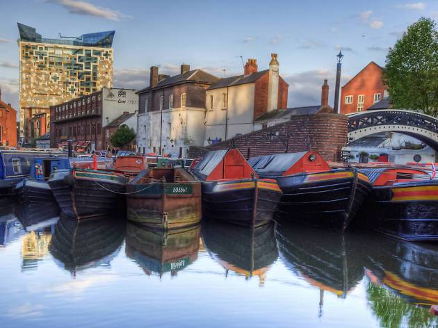 Narrowboats in Birmingham canal