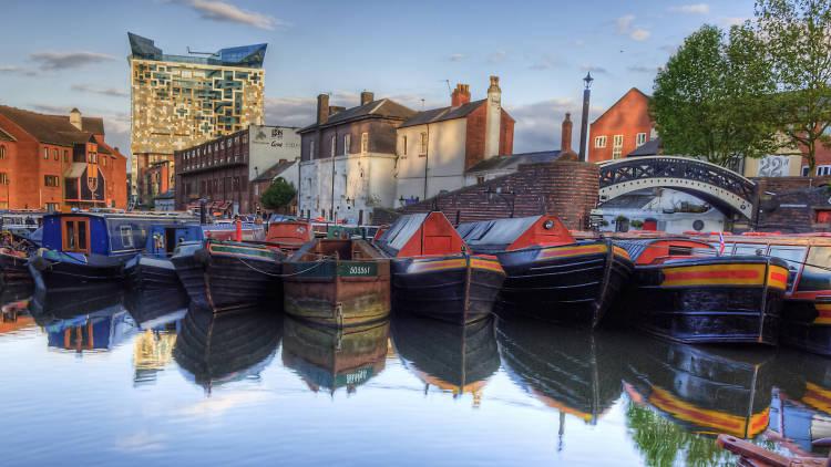 Narrowboats in Birmingham canal
