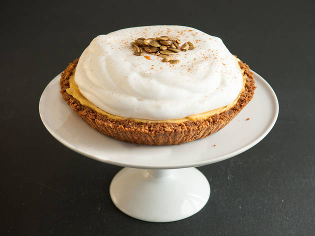 Spiced pumpkin ice cream pie at Sweet Rose Creamery