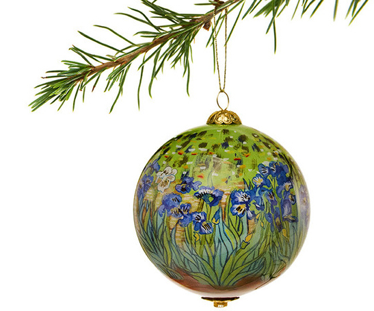 Irises Hand-Painted Glass Ornament from the Getty.