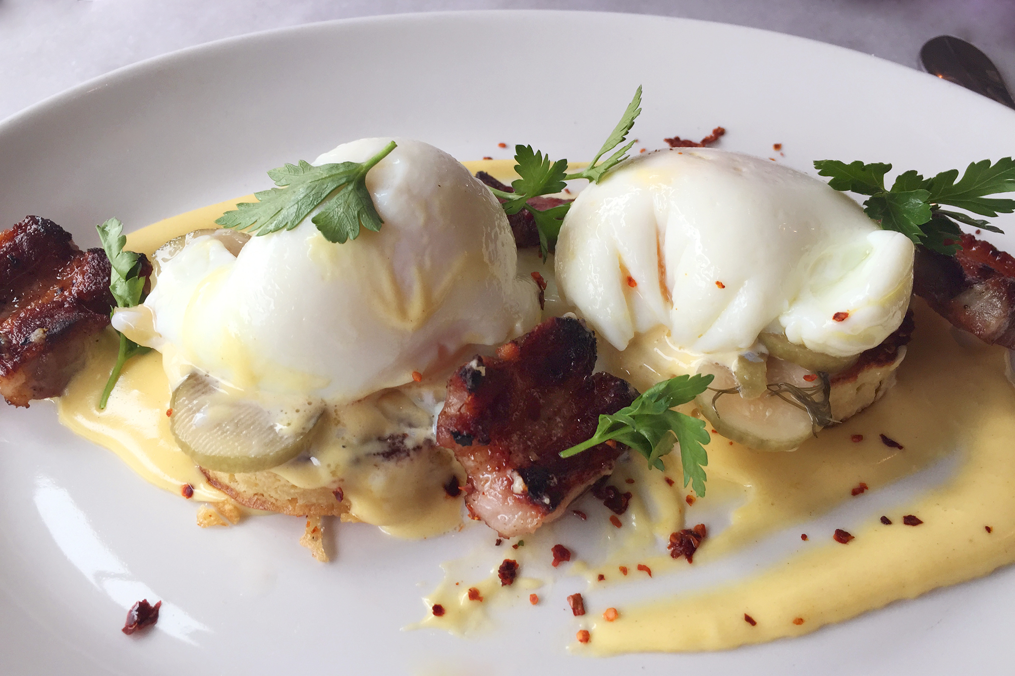 Pork belly Benedict at A10