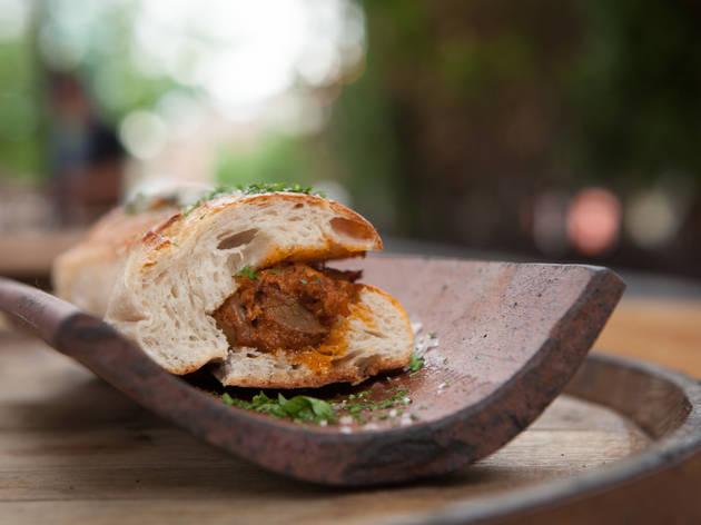 Pork belly and manchego bocadillo at Next Tapas