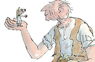 Quentin Blake illustration of The BFG and Sophie