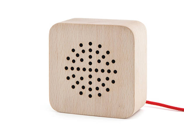 Kikkerland wood speaker, $50, at kikkerland.com