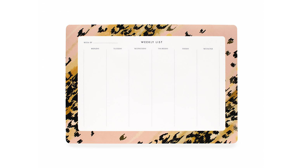 Rifle Paper Co. Leopard weekly desk planner, $12, at riflepaperco.com