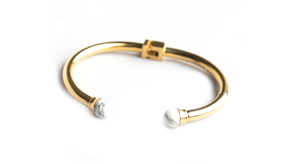 The Howlite marble cuff by Mark Shami, $99, at themjewelers.com