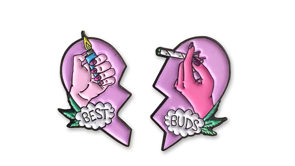 Best Buds enamel pin set, $12, at saramlyons.myshopify.com