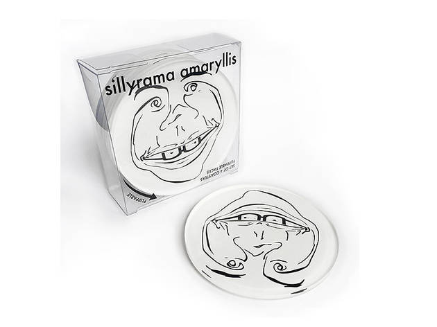 Sillyrama Amaryllis flippable face coaster set, $25, at sillyramaamaryllis.com