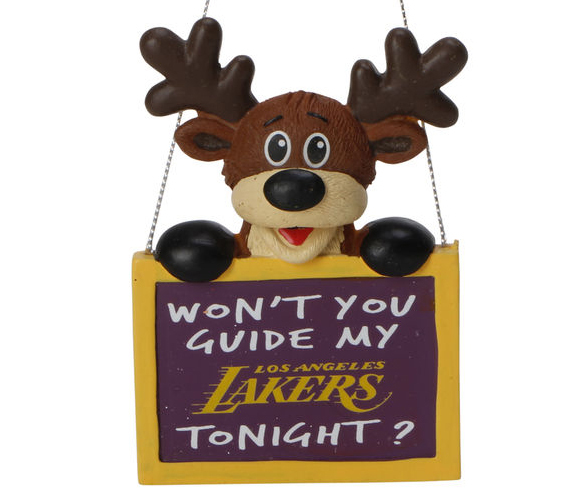 Los Angeles Lakers Reindeer With Sign Ornament