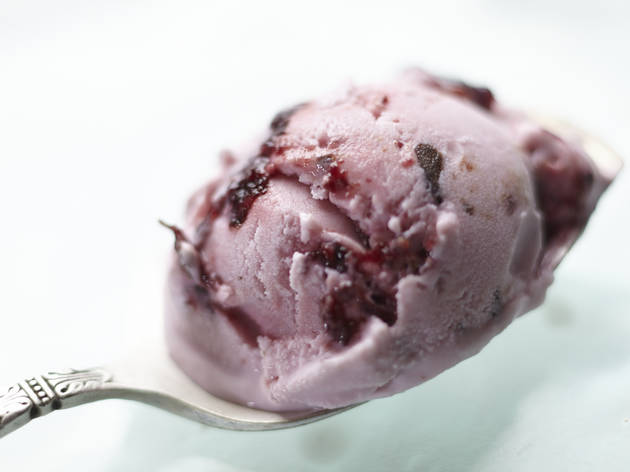 Black cherry chip ice cream at Graeter's Ice Cream