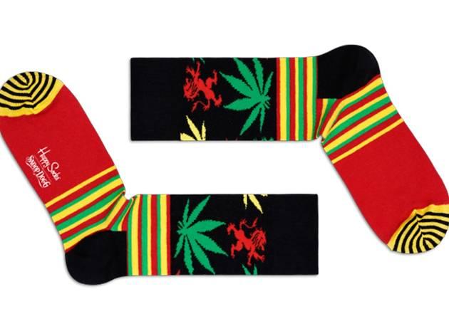 Happy Socks x Snoop Dogg stripes and plants socks