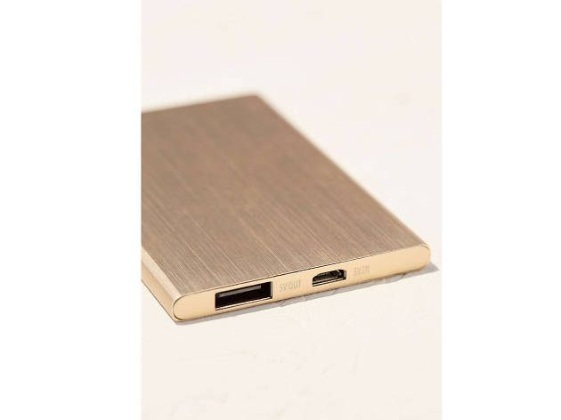 Slim rose-gold portable power charger