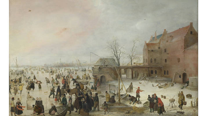 Hendrick Avercamp, 'A Scene on the Ice Near a Town', 1615