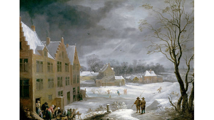 David Teniers the Younger, 'Winter Scene with a Man Killing a Pig', 1650
