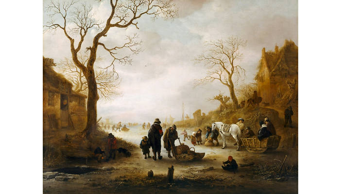 Isack van Ostade, 'A Canal in Winter', 1645