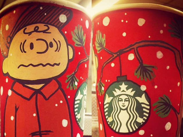 Artist saves Christmas by improving Starbucks cups