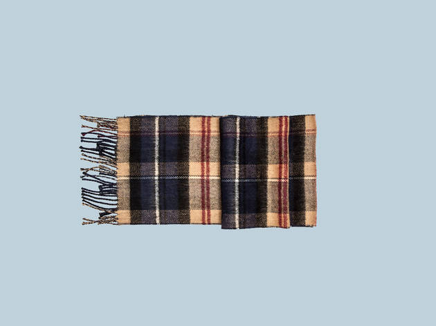 Navy and beige checked woven scarf