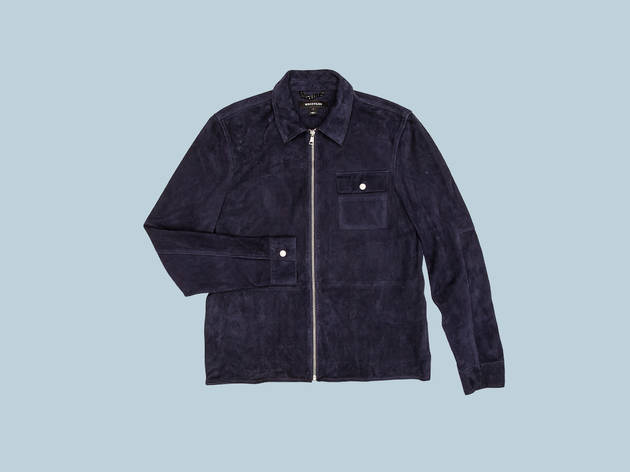 Navy suede shirt jacket