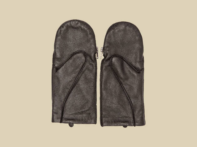 Leather zip mittens