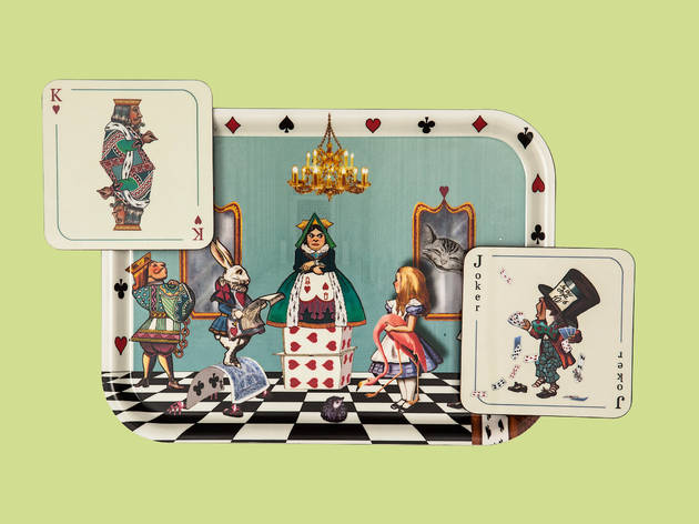 Alice in the Court of Hearts tray and coasters