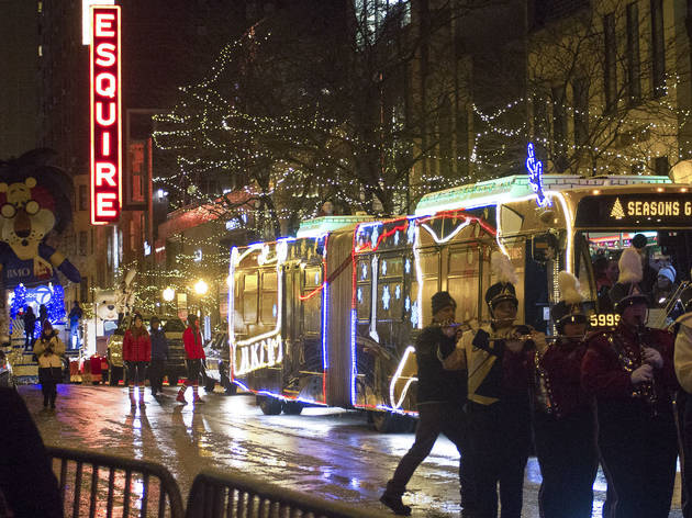 A parade and fireworks entertained crowds at the Magnificent Mile Lights Festival, November 21, 2015.