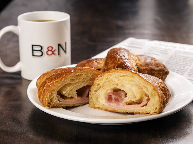 Ham and Swiss croissant at Baker and Nosh