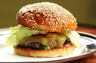 Close up of Huxtaburger's basic burger