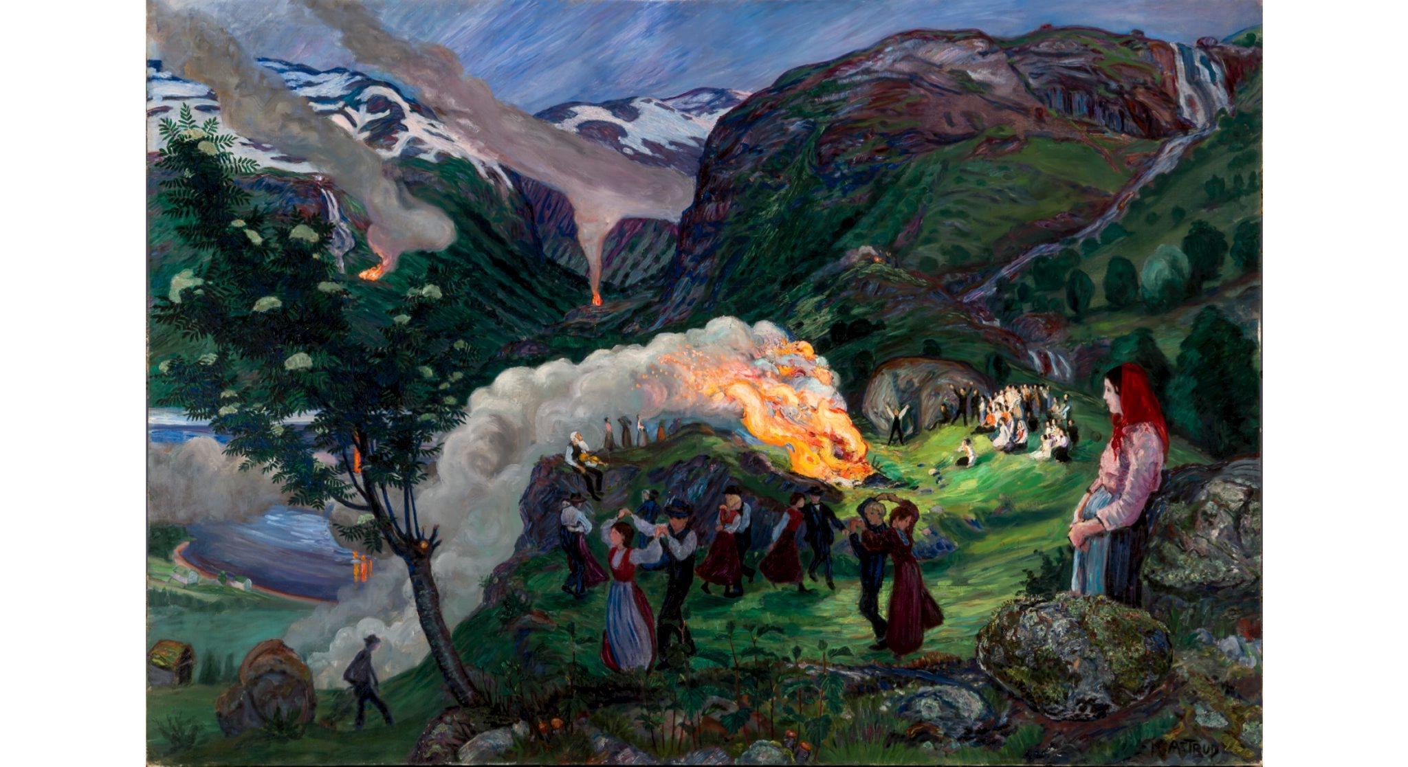 (Nikolai Astrup: 'Midsummer Eve Bonfire', before 1915. The Savings Bank Foundation DNB/The Astrup Collection/KODE, Bergen Art Museum, Norway)