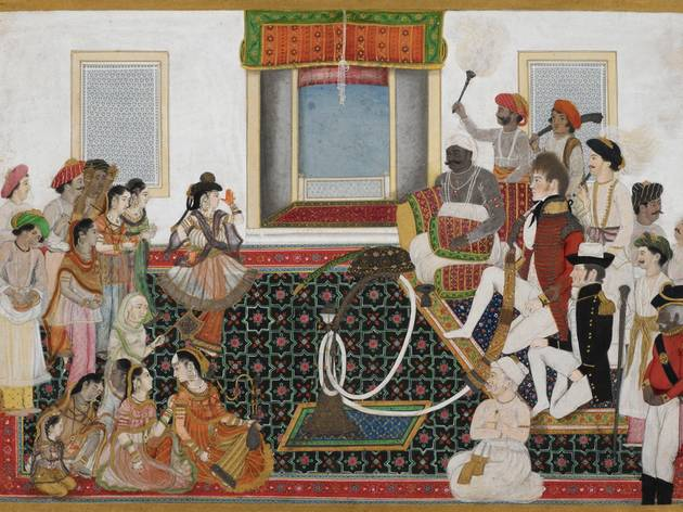 (Indian Artist, Delhi: 'Mahadaji Sindhia entertaining a British naval officer and military officer with a Nautch', c1815-20. © British Library )