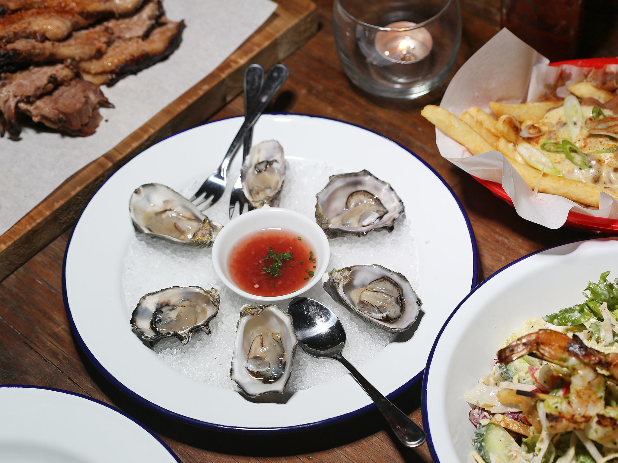 Oysters and smoky beef at Le Bon Ton
