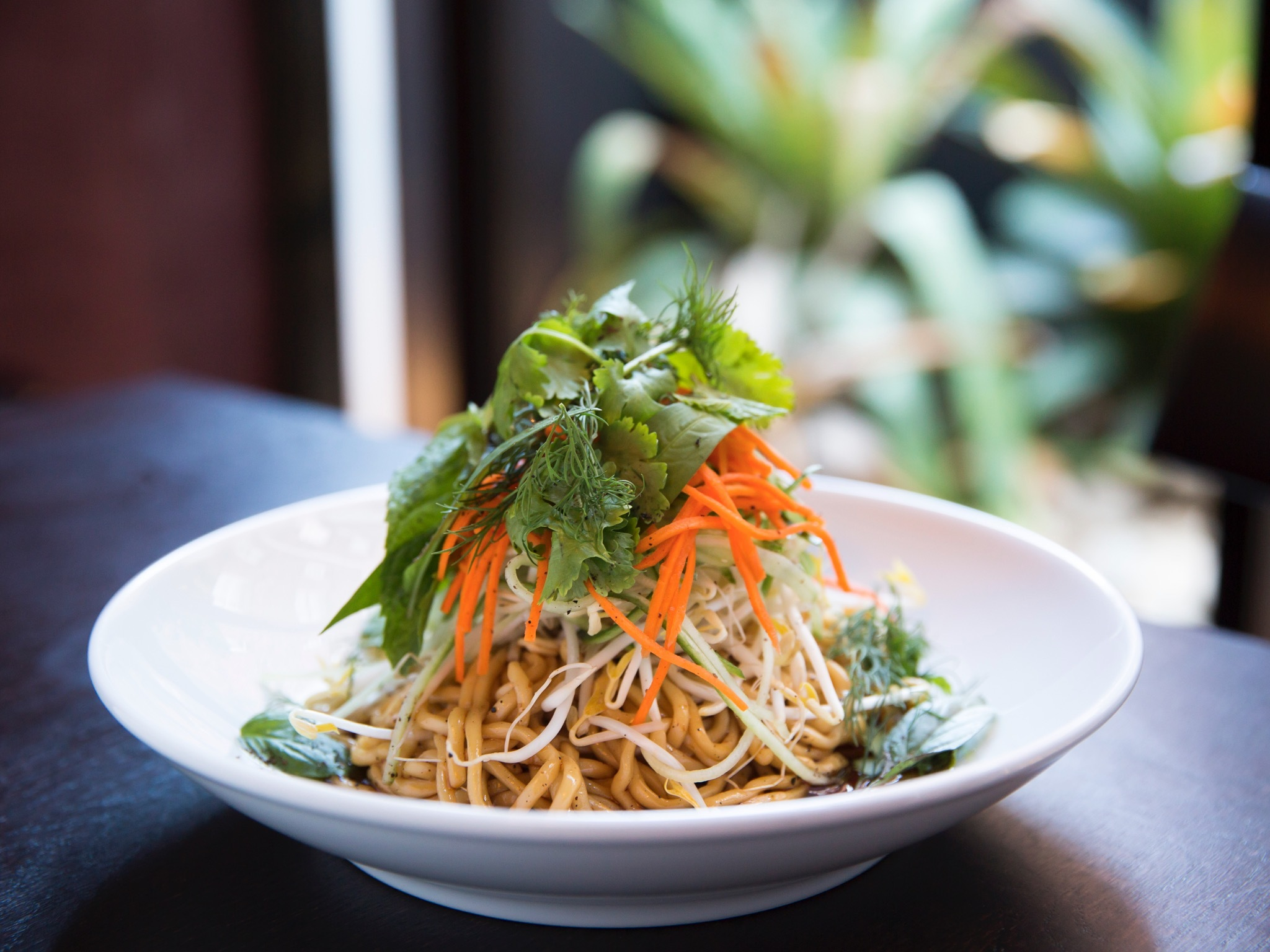 A shot of the steamed hokkien noodles with carrot and bean shoot