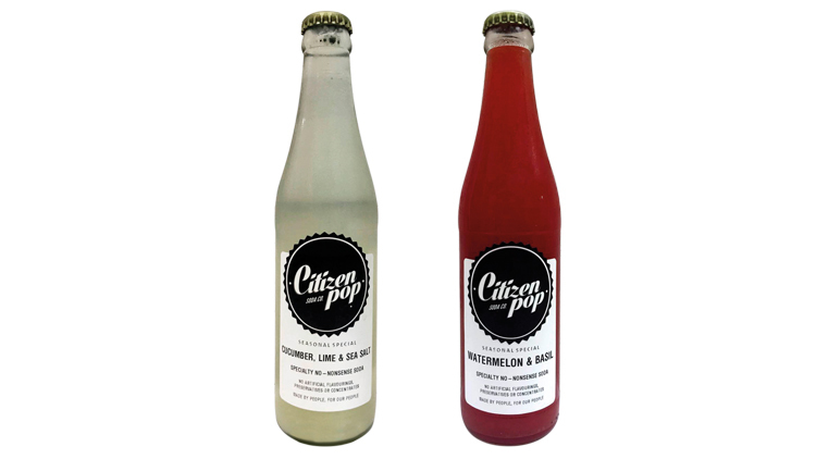 Citizen Pop Watermelon & Basil, and Cucumber, Lime & Sea Salt sodas, $7 each at The Providore