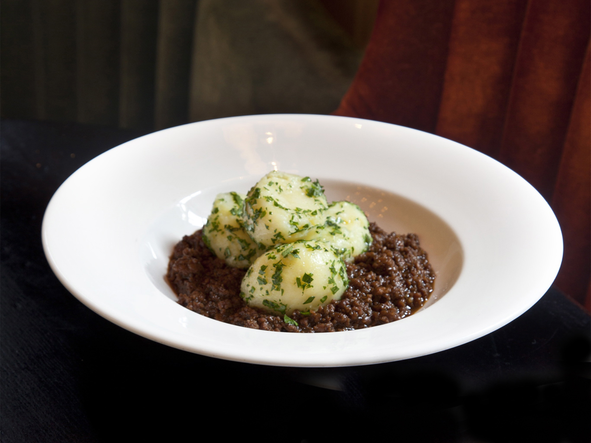 Mince and potatoes at Dean Street Townhouse