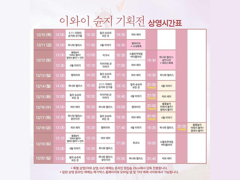 이와이 슈운지 상영시간표