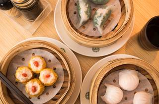 A top down shot of a selection of dumplings at Tim Ho Wan