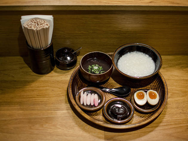 Porridge at Koya, Frith Street. (Okayu - porridge with pickles,