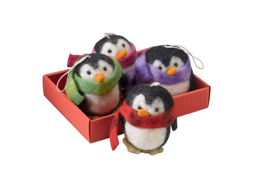 Four penguin Christmas decorations by Amnesty International, £9.50